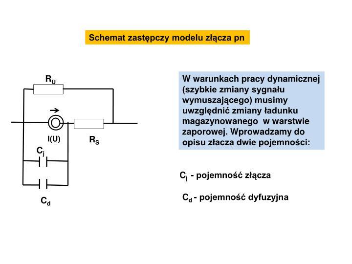 Schemat zastępczy modelu złącza pn