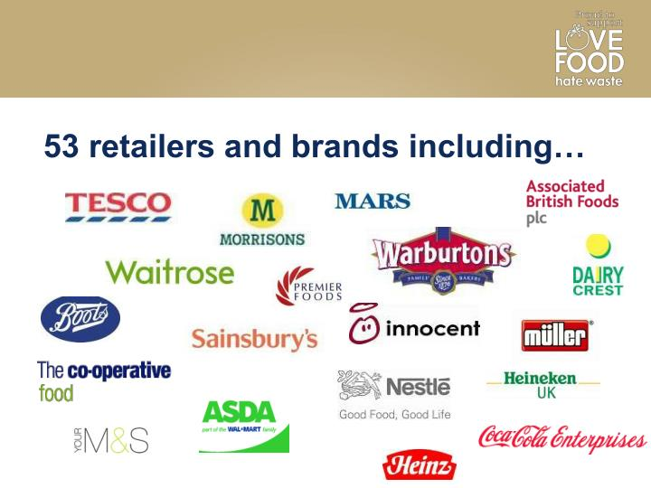 53 retailers and brands including…