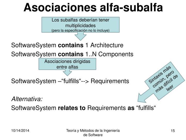 Asociaciones alfa-subalfa