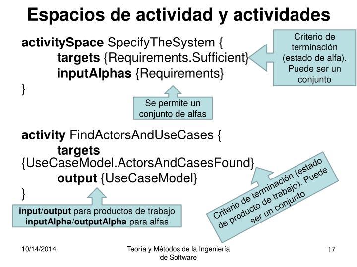 Espacios de actividad y actividades