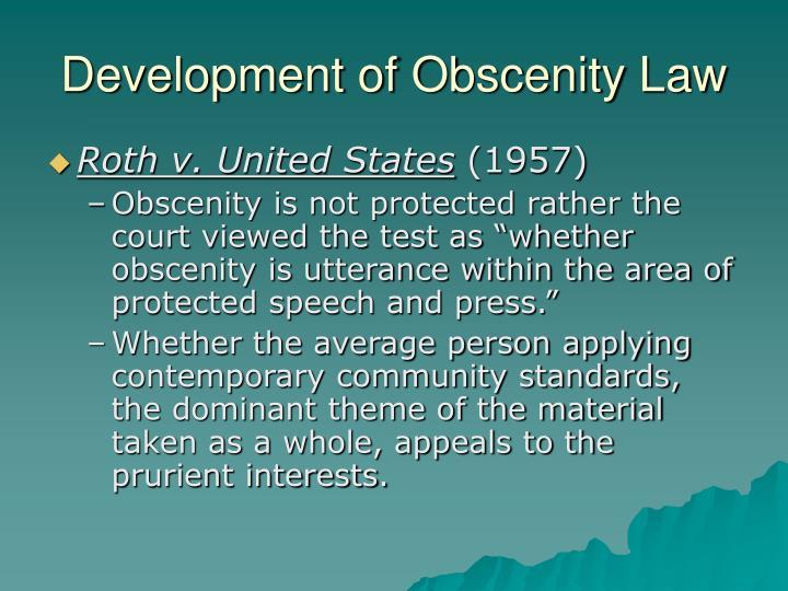 Development of Obscenity Law
