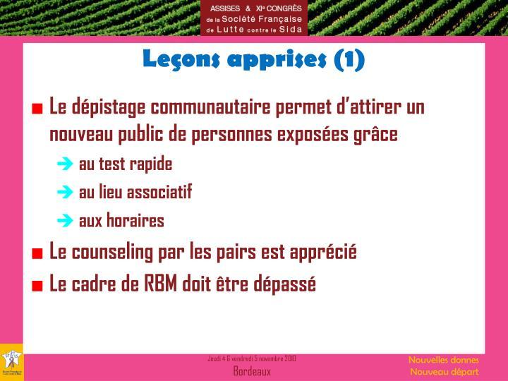 Leçons apprises (1)