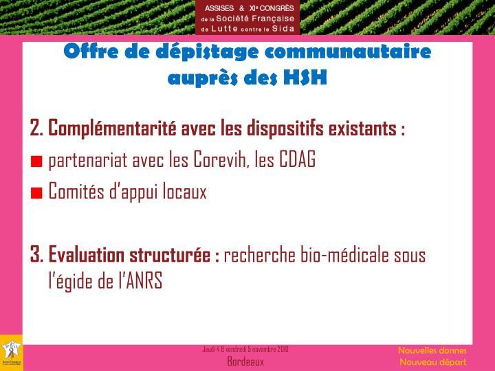Offre de dépistage communautaire auprès des HSH
