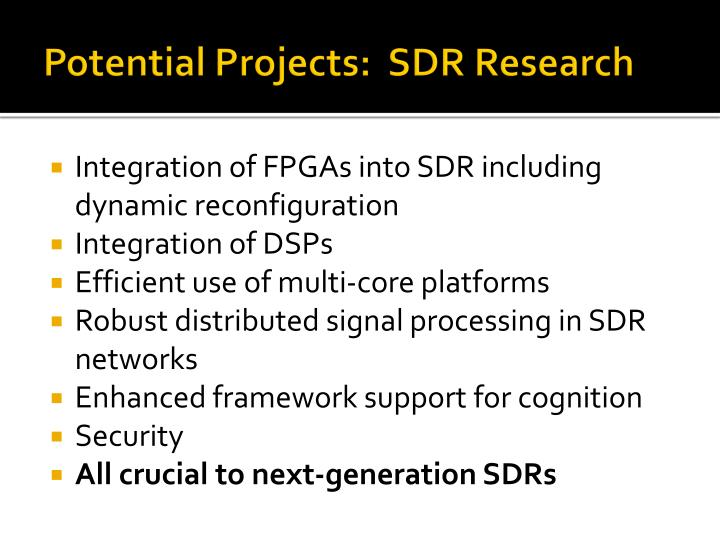 Potential Projects:  SDR Research