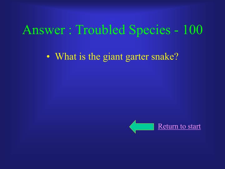 Answer : Troubled Species - 100