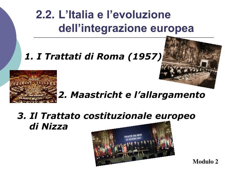 2.2. L'Italia e l'evoluzione dell'integrazione europea