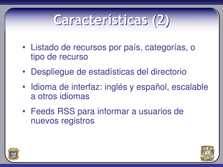 Listado de recursos por país, categorías, o tipo de recurso