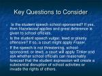 key questions to consider