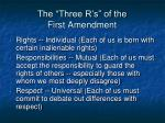 the three r s of the first amendment