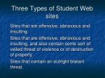 three types of student web sites