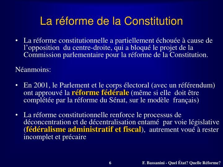 La réforme de la Constitution