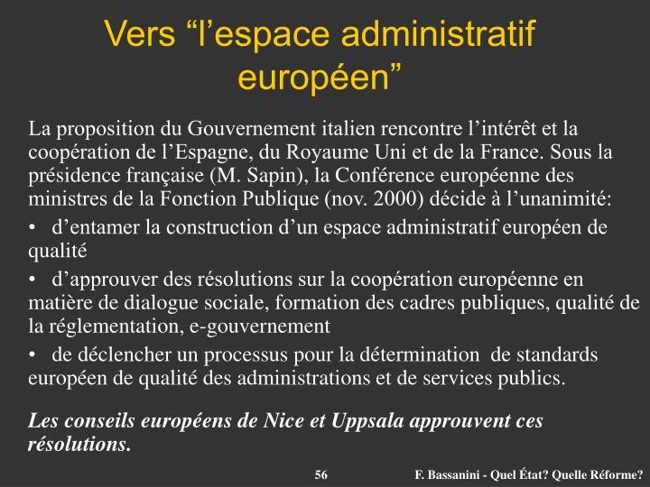 "Vers ""l'espace administratif européen"""