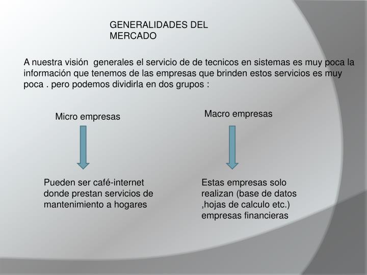 GENERALIDADES DEL MERCADO