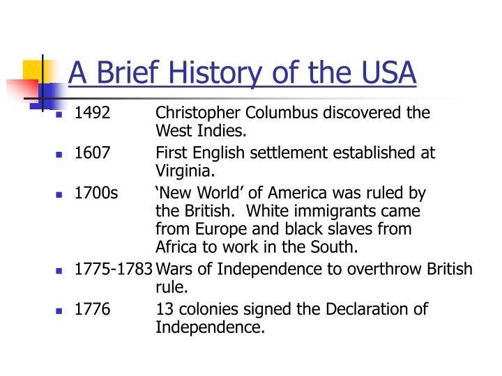 A Brief History of the USA