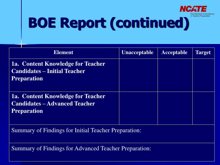 BOE Report (continued)