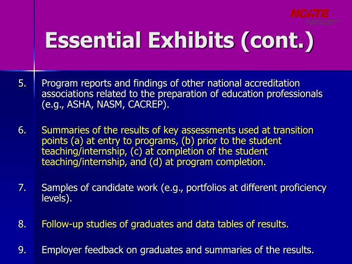 Essential Exhibits (cont.)