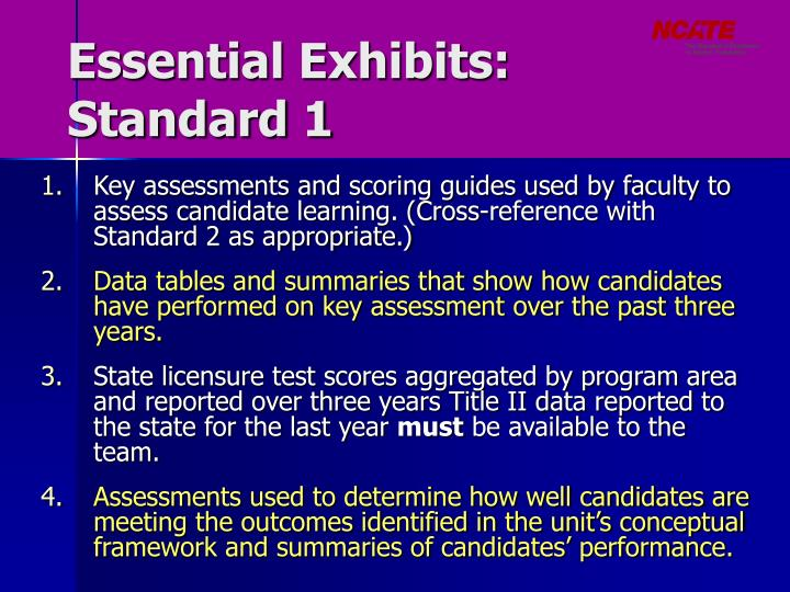 Essential Exhibits: Standard 1