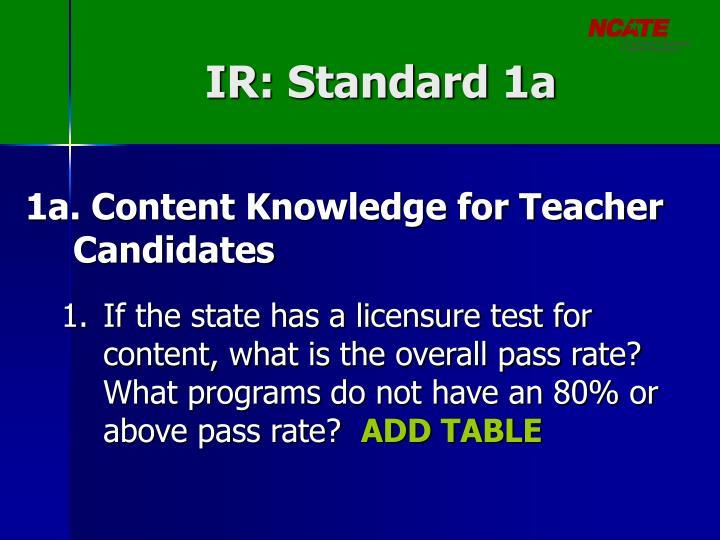 IR: Standard 1a