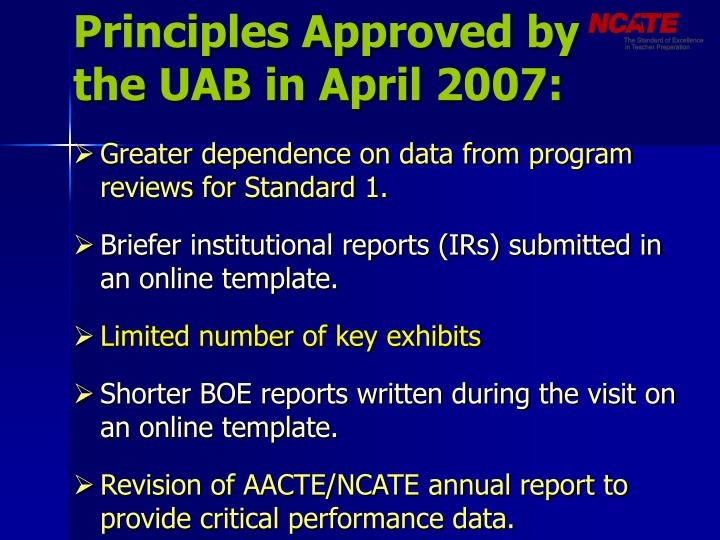 Principles approved by the uab in april 2007