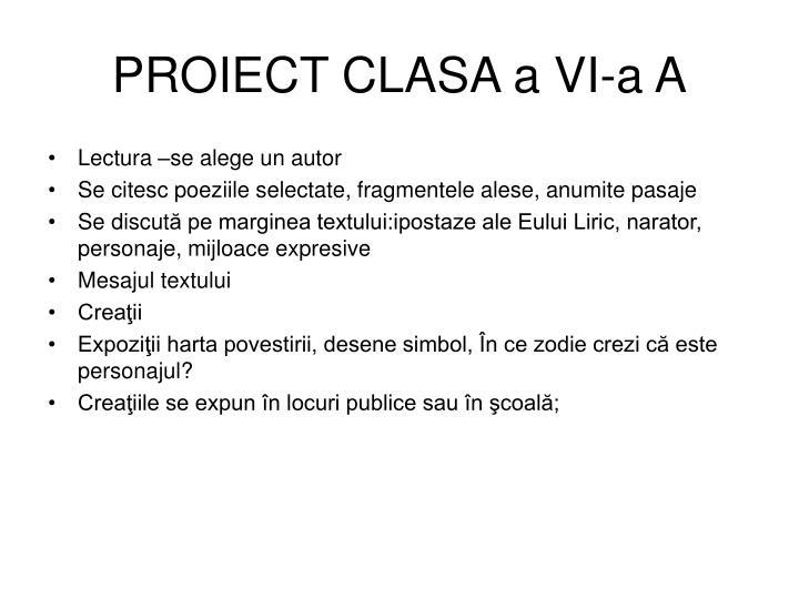 PROIECT CLASA a VI-a A
