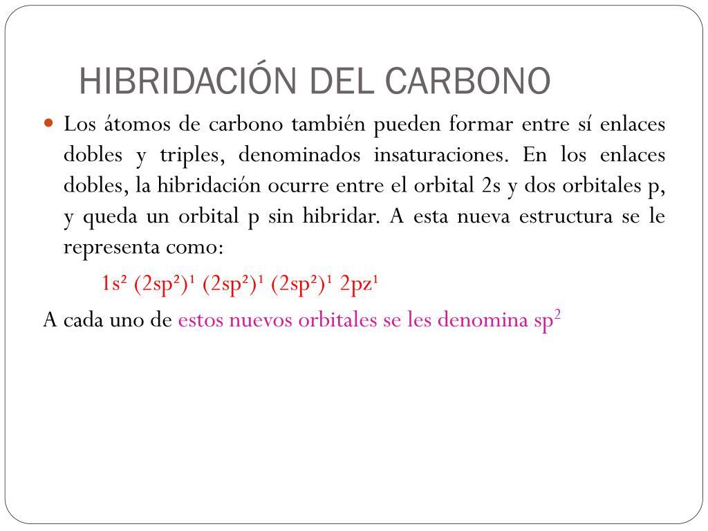 Ppt Hibridación Del átomo De Carbono Powerpoint