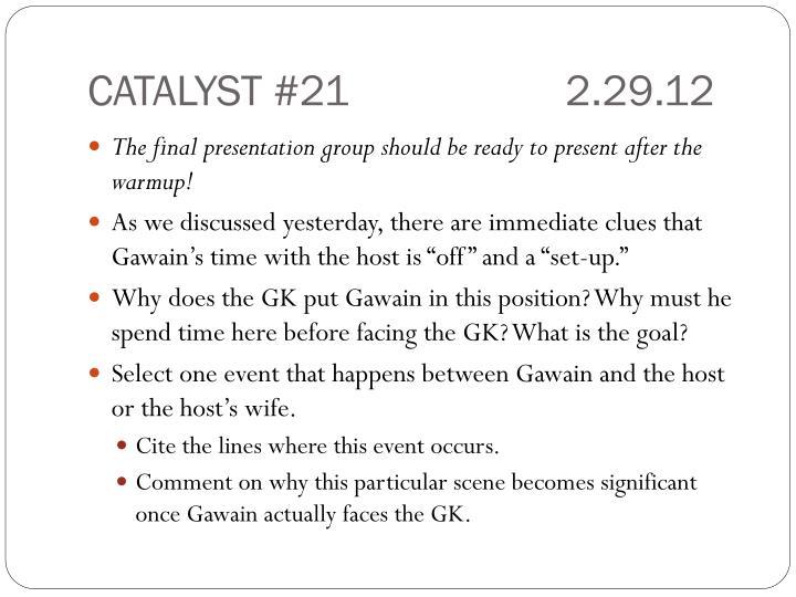 CATALYST #212.29.12