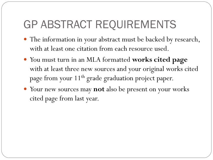 GP ABSTRACT REQUIREMENTS