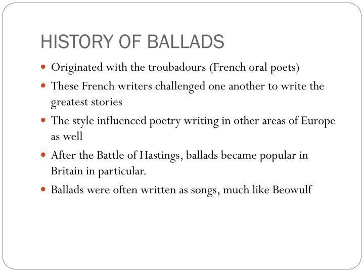 HISTORY OF BALLADS