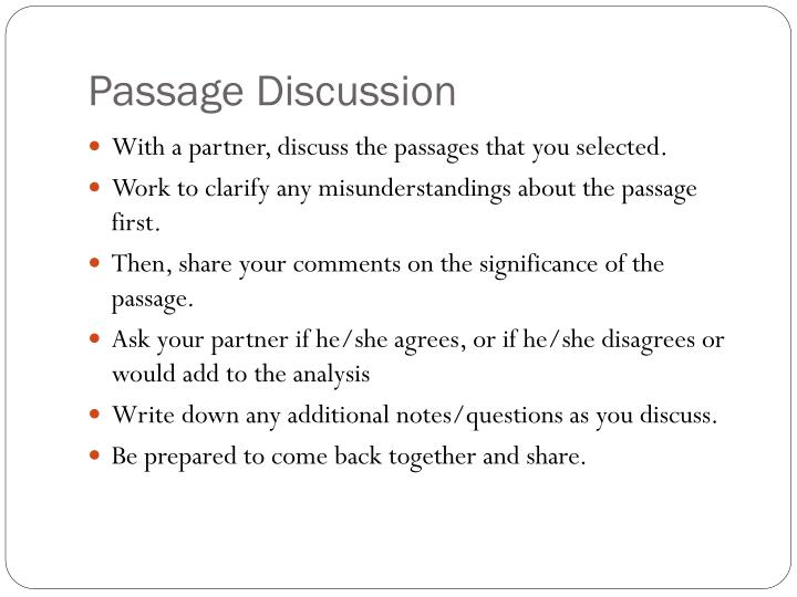 Passage Discussion