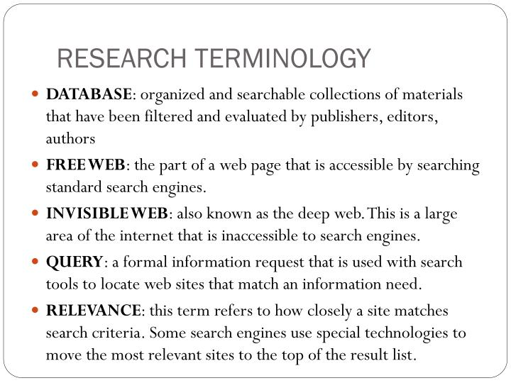 RESEARCH TERMINOLOGY