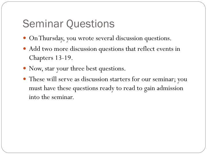 Seminar Questions