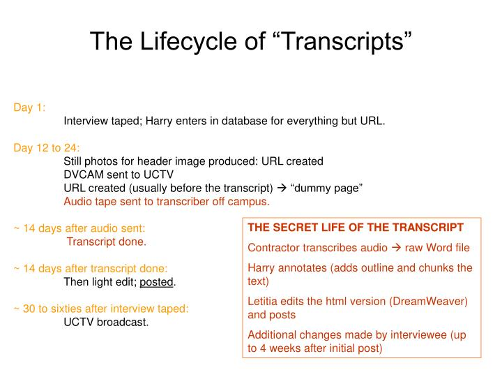 the lifecycle of transcripts