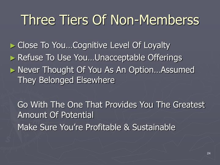 Three Tiers Of Non-Memberss