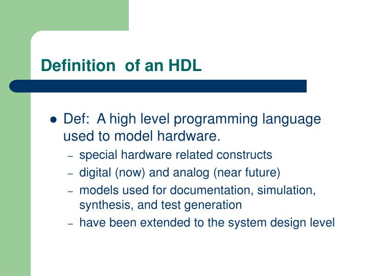 Definition of an hdl