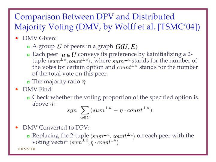 Comparison Between DPV and Distributed Majority Voting (DMV, by Wolff et al. [TSMC'04])