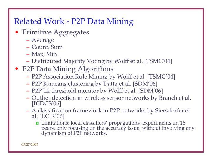 Related Work - P2P Data Mining