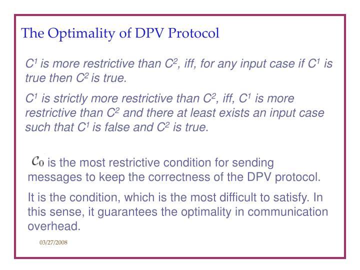 The Optimality of DPV Protocol