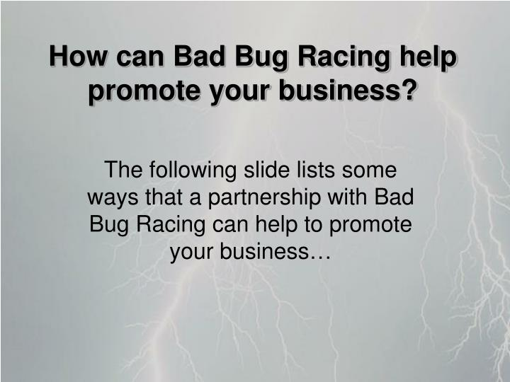 How can Bad Bug Racing help promote your business?
