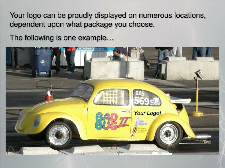 Your logo can be proudly displayed on numerous locations, dependent upon what package you choose.