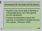 commercial off the shelf cots games