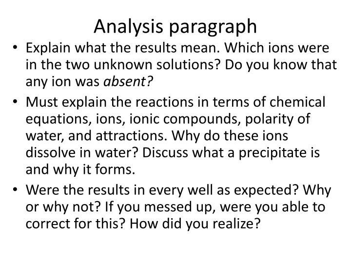 Analysis paragraph