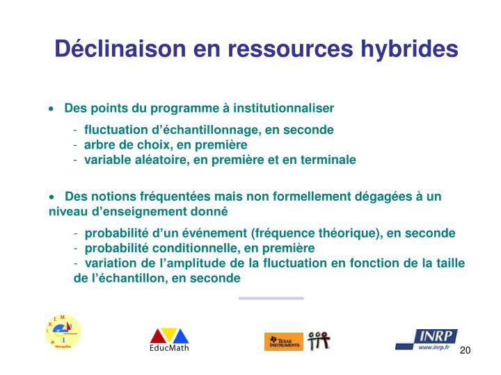 Déclinaison en ressources hybrides