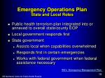 emergency operations plan state and local roles
