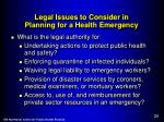 legal issues to consider in planning for a health emergency