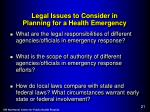 legal issues to consider in planning for a health emergency1