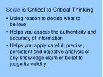 scale is critical to critical thinking