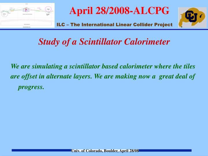 Study of a Scintillator Calorimeter