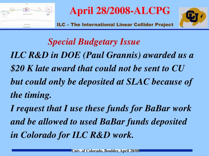 Special Budgetary Issue