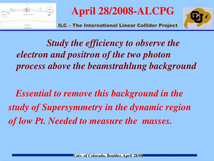 Study the efficiency to observe the electron and positron of the two photon process above the beamstrahlung background