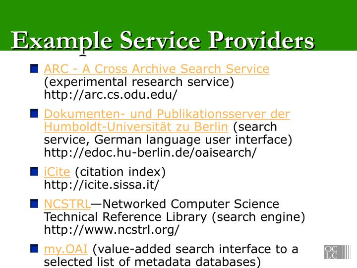 Example Service Providers
